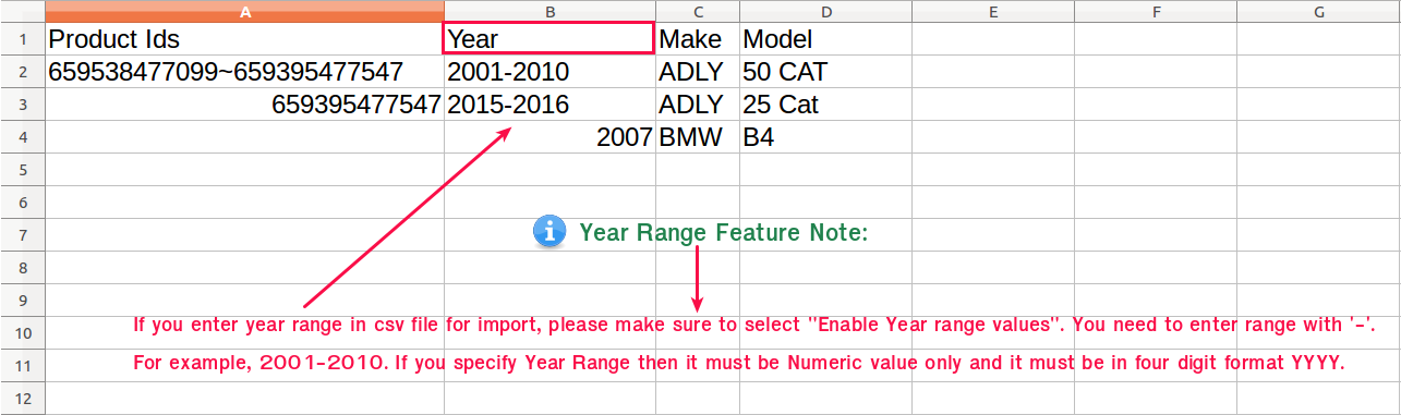 Note About Year Range Feature